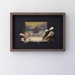 Hjemstavn (Homeland), Mercerized thread, old painting on wooden panel. 46 x 32,5 x 7 cm.