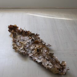 HAM (Sloughing) Withered leaves, imprint of a human body. 180 x 60 x 25 cm.