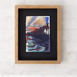 Helligdomsklipperne (Sanctuary Rocks), Oil rayon and Silk on paper. Framed 27 x 35 x 4 cm.