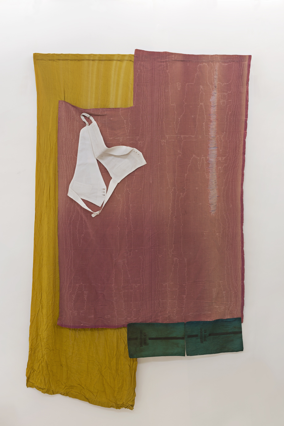 Sværmer, (Moth), Curtain, textile in solution, dressing suit, money bags from the 1920's bankerupt Landmandsbank (Danish bank), 230 x 175 x 8 cm, 2018